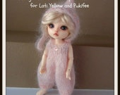 Instant Download PDF Knitting Pattern for Fuzzy Romper and Pixie Hat for Lati Yellow and Pukifee
