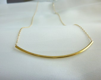 Gold Long Tube Necklace Gold Thin Tube Necklace Long Curve