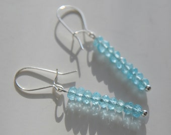 Blue Apatite Stack Earrings, Bridal Jewelry, Bridesmaids Gifts