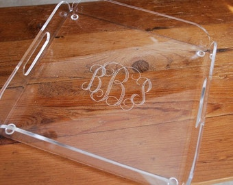 Engraved Monogram Serving Tray - Square 12 x 12  Acrylic Tray with Handles
