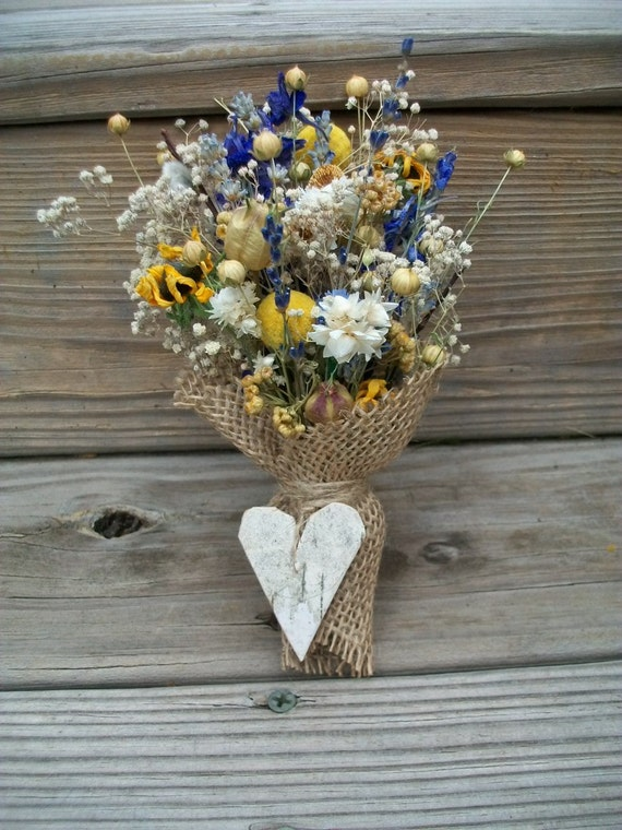 One Rustic Tan Burlap Cone with Naturally Air Dried Flowers Tied With A Heart Shaped Birch Bark Tag