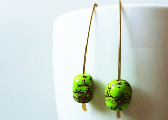 Green Turquoise Earrings. Turquoise Earrings. Drop Earrings. Bright Green Turquoise and Raw Brass Earrings.