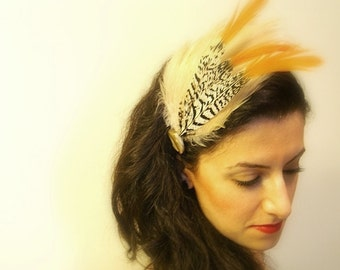 Ivory Feather Headband, Avant Garde, Ivory, Brown, Orange Chinchilla Feathers, Brown Headband, Vintage Button Accent