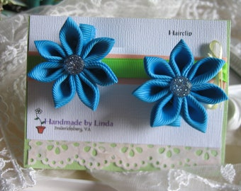 Hair clip set in Kanzashi Flower with  Pointed Petals