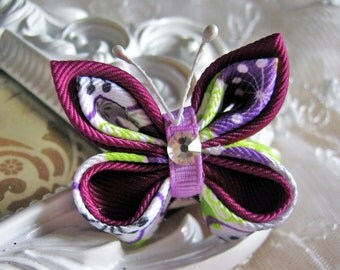 Kanzashi Butterfly  Hairclip in Color Purple