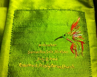Add a custom hand embroidered dedication to your stole