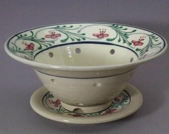 Berry Bowl  Red Flowers Garland Design Stoneware
