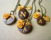 Fall Wedding - Bridesmaid necklace - Set of 4