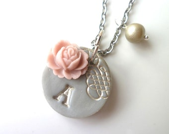 Custom Letter Necklace - Shabby Chic - Romantic - Antique-Vintage- Gray and Silver