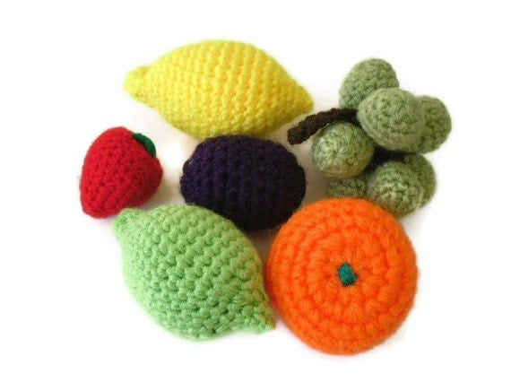 Crocheted fruit .Play food, Pretend fruit,  colorful, sensory, eco friendly, display, kitchen decor. Made to order