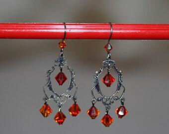 Earrings Chandelier,crystal earrings , red earrings,antique,crystal earrings