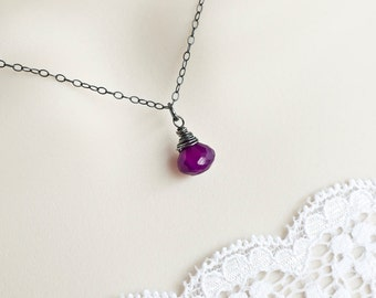Purple Chalcedony Necklace, Oxidized Sterling Silver Purple Chalcedony Necklace