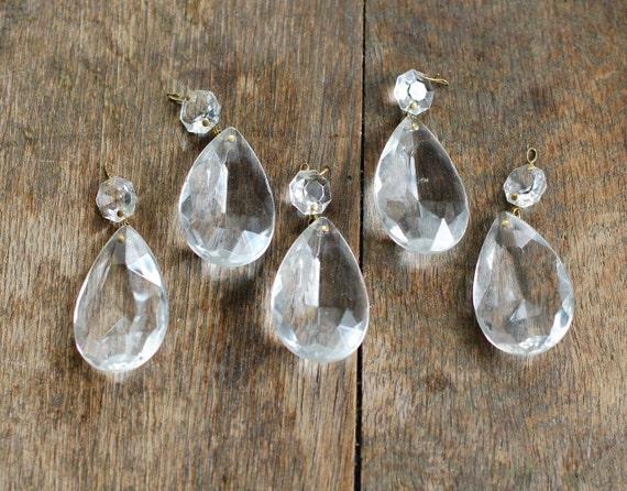 5 Glass Crystal Prisms - Chandelier Drop Crystals