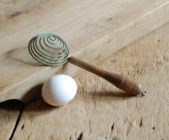 Vintage Wire Egg Separator with Green Patina and Wood Handle