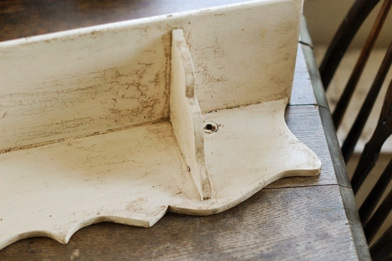 SALE - Antique Painted Shelf with Scalloped Edge