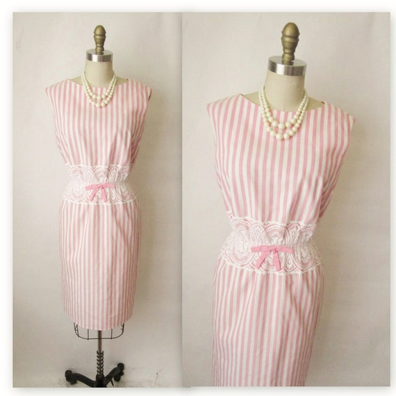 50's Striped Day Dress // Vintage 1950's Pink White Striped Lace Garden Party Fitted Mad Men Dress S M