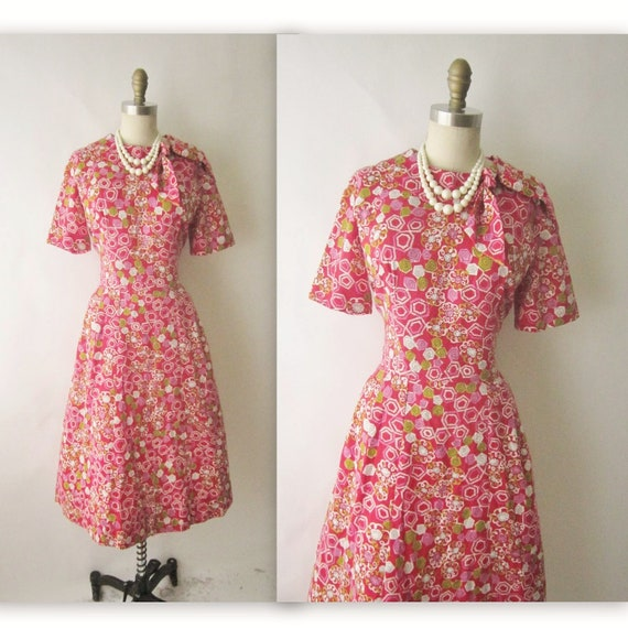 60's Day Dress // Vintage 1960's Mid Century Print Cotton Mad Men Day Dress L