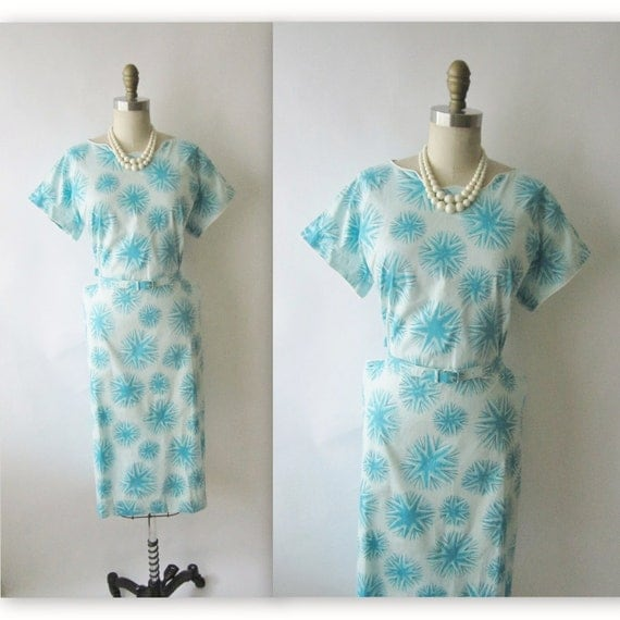 50's Casual Dress // Vintage 1950's Starburst Print Casual Fitted Garden Party Mad Men Sheath Dress XL XXL 1x 2x