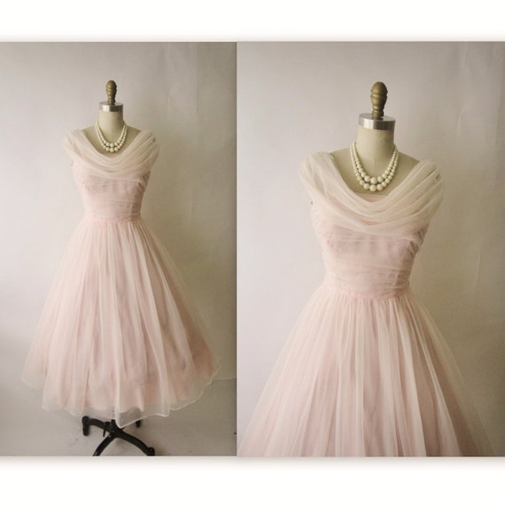 50's Chiffon Dress // Vintage 1950's Ruched Pink Chiffon Wedding Party Prom Dress Tea Gown XS S