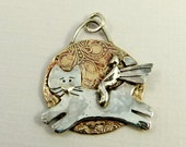 Angel Kailee And Her Cat Klondike - Repurposed Sterling, Brass, And PMC - Art Jewelry Pendant - 852
