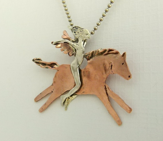 Angel Langly Loves The Ride Through Life - Repurposed Sterling, Copper, And PMC - Art Jewelry Pendant - 861
