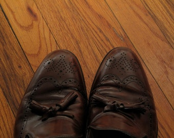mens vintage johnston and murphy wingtip tassel loafers