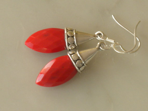Lipstick red earrings, sterling silver, gift idea, red bamboo coral