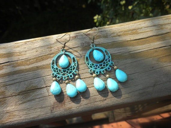SALE-Blue turquoise earrings, natural stone, patina, vintage, gypsy style, chandeliers, Bohemian, handmade, brass ear wire, antique brass