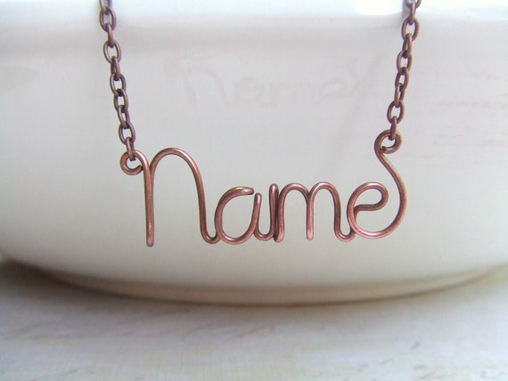 Custom Name Necklace, Copper Oxidized, Personalized Name Necklace,  Name Jewelry, Personalized Jewelry Gifts, Name Gift, Wire Wrap Name