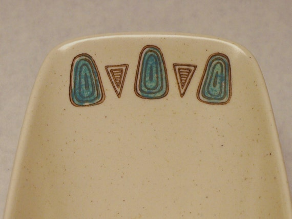 Reserved Funky MOD 1950s 1960s Metlox Poppytrail MidCentury Modern 2 part divided CANOE Bowl in Navajo Pattern Eames era