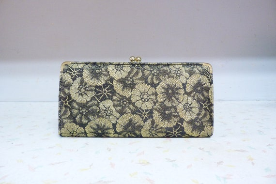 Vintage Brocade 1960's Gold and Black Metallic Clutch Floral Kiss Closure Formal Wedding Party