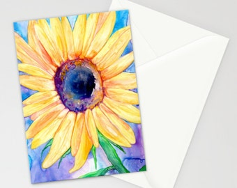 Sunflower Art Card - Orange Yellow Floral Painting