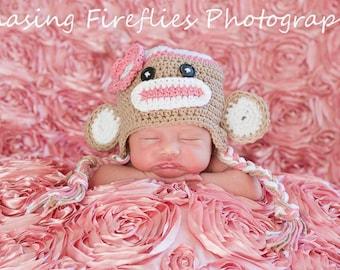 Pink sock monkey hat newborn sock monkey hat crochet photography prop toddler sock monkey hat