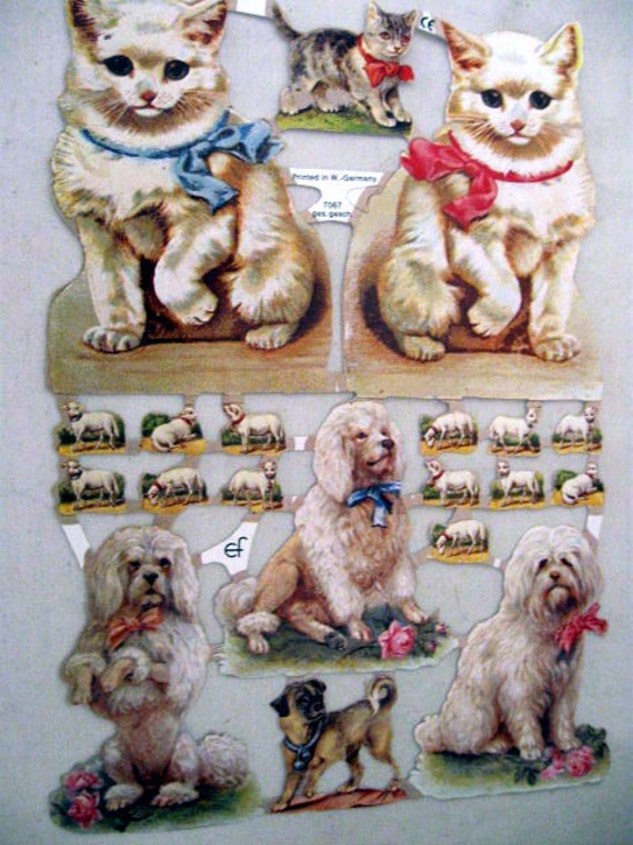 Vintage German Scrap Dresden Embossed Victorian White Cats Dogs Sheep