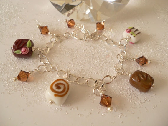 Chocolate Charm Bracelet, Sweet Tooth, Candy, Food Jewelry