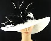 WHITE Derby Hat,Kentucky Derby Hat with Polka Dot hat band,Fascinator,Dress Hat, Wide Brim Hat ,Wedding Hat,Tea Party Hat ,Ascot hat