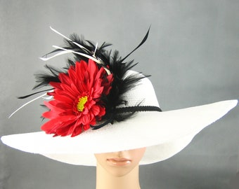 Derby Hat Dress Hat Wedding hat Derby Hat with feathers Church Derby Hat Kentucky Derby Hat WHITE Hat  Wide Brim Womens Tea Party Ascot