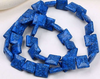 Blue 10mm Square beads