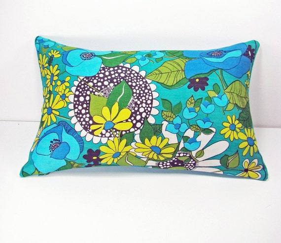 Scandinavian Linen Fabric  Pillow Cover, Bright Colorful Retro Modern Cushion