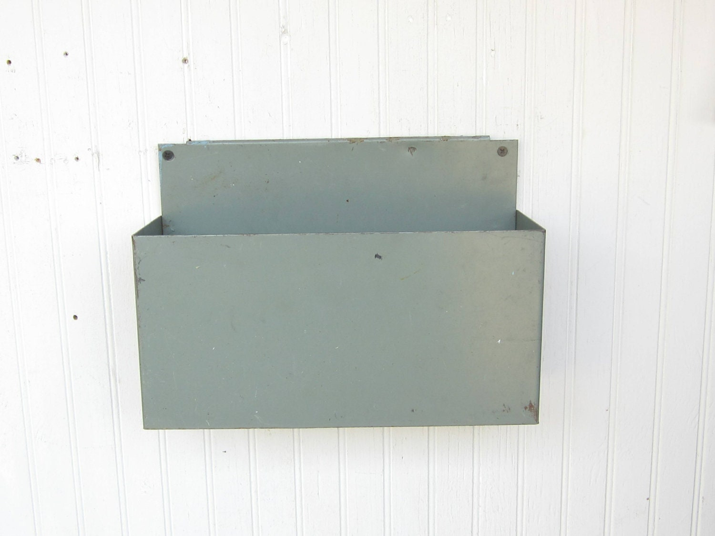 Metal Wall Hanging Storage Bin Industrial By Thejunkman On