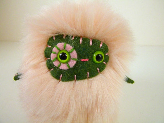 Charlotte the plush monster miniature pastel pink and forest green stuffed animal Little Uggle