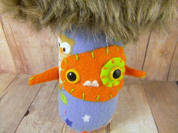 INVENTORY SALE SALE Apollo the miniature mushroom monster blue brown orange star and owls ugly Monshroomies