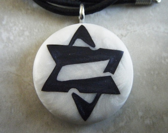 Star of David Modern design  hand carved on a polymer clay mother of pearl color background. Pendant comes with a FREE necklace