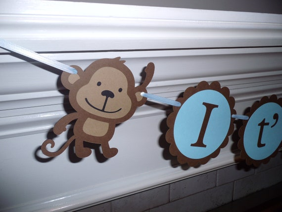 Boy baby shower banner it 39 s a boy monkey by - Baby shower monkey decorations for a girl ...