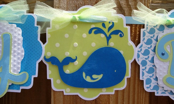 Whale Happy Birthday Banner with Blue and Green