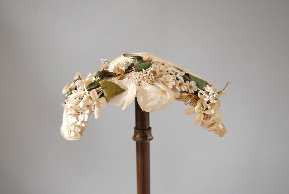 1950s Hat / Cream Floral  / Bonnet