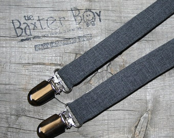 Dark grey polyester suspenders for little boys - photo prop, wedding, ring bearer, accessory