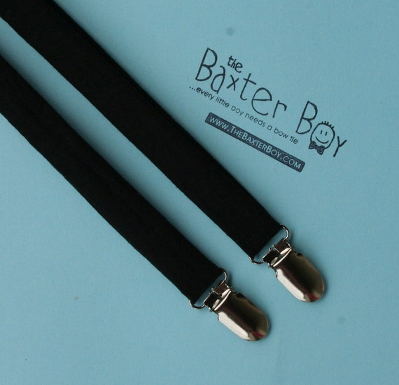 Solid Black little boy matching suspenders - photo prop, wedding, ring bearer, accessory