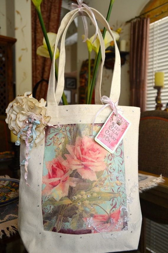 Shabby Cottage Chic Tote Bag With Muslin Flower Pin