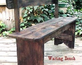 BENCH - FRee SHiPPiNG - Country Primitive - 1800's R/R Depot Style WAiTING BENCH in Distressed BLACK Option - 42'' Bench - C Photos & Dtails